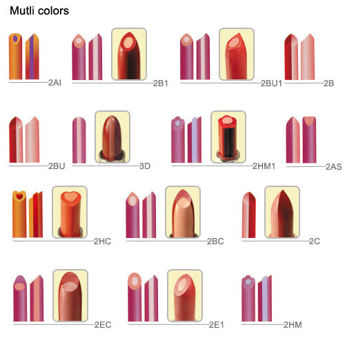 Tip-Shapes Reference, Lipstick Moulds